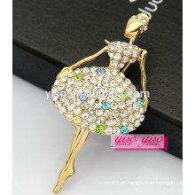 Venda superior adorável linda dançarina meninas liga broche de cristal