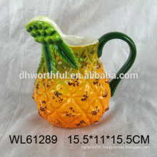 Wholesale ceramic milk mug with big handle in pineapple shape