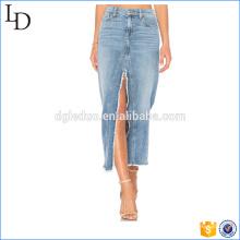 Fábrica diretamente venda mulheres longo maxi saia com fenda saia jeans