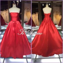 1A001cx чистый Цвет Красный простой Sash атласная-line этаж длина с плеча свадебные платья 2016