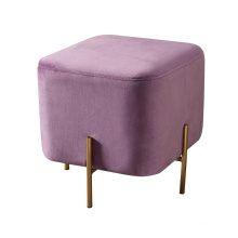 Living Room Furniture Golden Stainless Steel Base Velvet Modern Stool Pouf Ottoman