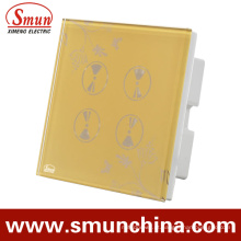 Interruptor do toque da parede de 4 grupos, soquete de parede esperto, para interruptores de controle remoto da casa e do hotel
