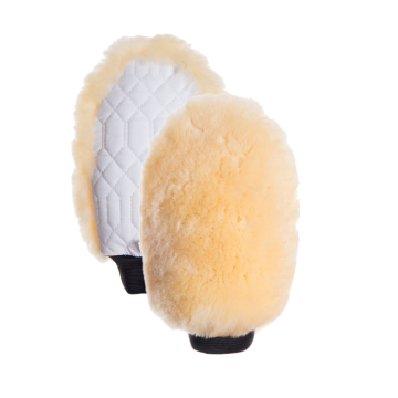 One sided natural sheepskin grooming mitt pro white
