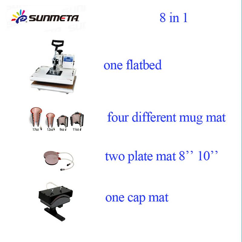 FREESUB Flatbed T Shirt Heat Press Machine 8in1