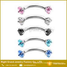 Surtido de colores diente conjunto gema ceja internamente roscado anillo