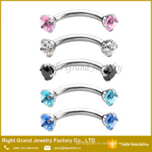 Assorted Color Prong Set Gem Internally Threaded Eyebrow Ring