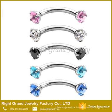 Assorted Color Prong Set Gem Internally Threaded Eyebrow Ring