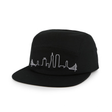 pure black multi-panel military hat with flat embroidery