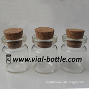 1ml Cork Top, Wooden Cap Clear Glass Vial for Gifts Packaging
