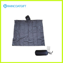 Impermeable 100% poliéster PVC revestimiento reutilizables / plegable lluvia Poncho Rpy-026