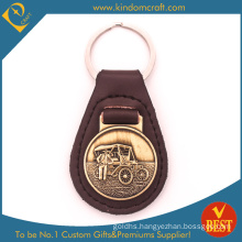 Custom Car Logo Genuine Leather Key Holder Keychains Keyrings with Decoration Metal Coins for Souvenir