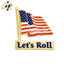 Hot sale alloy stamp custom metal gold badge pin for let's roll