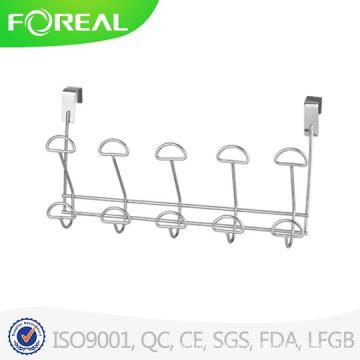 Over The Door Double 5 Hook Rack - Chrome