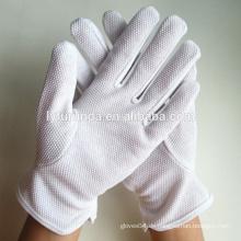 Gebleichte weiße Baumwoll-Lisle-Handschuhe mit PVC-Palmen