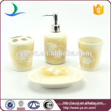 Bestselling shell design cerâmica conjunto acessório de banho