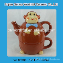 Keramik-Teekessel mit Tasse im Affen-Design