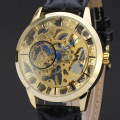 vintage watch with visible mechanism design ruby dial with leather band