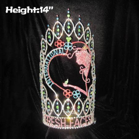 Coronas de concurso de caras frescas personalizadas de 14 pulgadas de altura