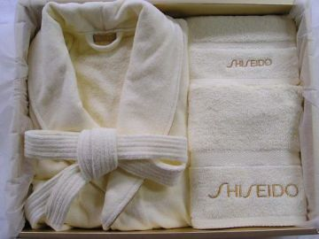 100%cotton velour terry shawl collar bathrobe with towels