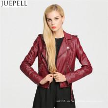 Chaqueta de cuero de PU de la chaqueta de cuero de la PU de las mujeres europeas de cuero chaqueta párrafo corto párrafo