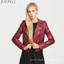European American PU Leather Jacket Short Paragraph Motorcycle Jacket PU Leather Women