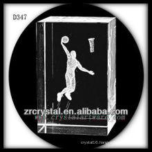 K9 3D Subsurface Basketball Inside Crystal Rectangle