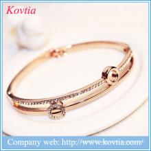 2016 rhinestone wholesale gold filled crystal arm bracelet wire bangle love charm bracelet
