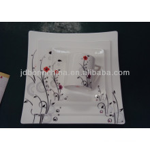 new arrival square shape heavy gold Middle East pie charger porcelain plate