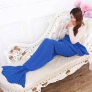 Super lembut tangan merajut Mermaid ekor selimut Sofa selimut