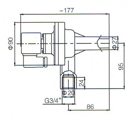 Main dimension of DMF-ZL-B Right Angle Type G3/4'' inlet threaded Port pulse solenoid valve