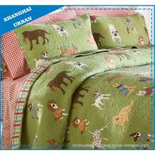 Kids Bedding Dog Zoo Printed Polyester Quilt Set