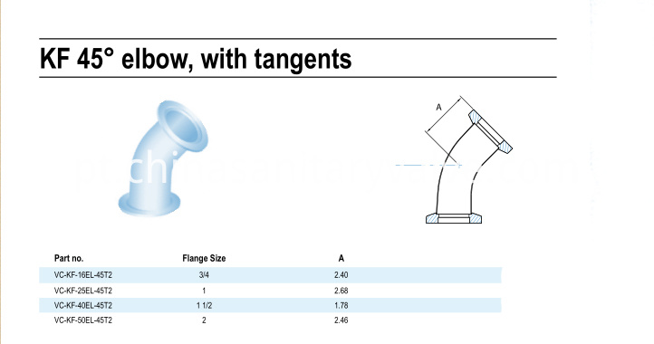 KF 45Degree elbow with tangents