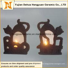 Schwarzer keramischer Kerzenhalter für Halloween-Dekorationen