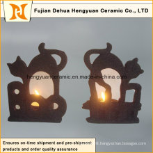 Black Ceramic Candle Holder for Halloween Decorations