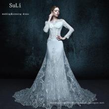 ZXB1 Русалка аппликация с длинным рукавом кружева мусульманин свадебное платье 2015