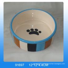 Alta qualidade, pegada, desenho, cerâmico, cão, tigela