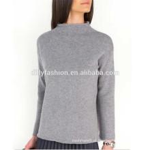 100% camisola de caxemira design de pulôver de suéter de funil largo