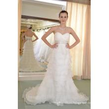 EN STOCK Off-The-Hombro vestido de novia sin mangas de piso de longitud de ventilador plisados vestidos de novia SW85