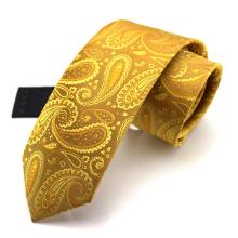 Cravate de Paisley d'or de fabricants de Jacquard de soie de mode