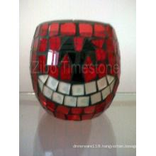 Pumpkin Mosaic Glass Votive Tea Light Holder (TS015-011)