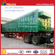 Remorque semi-remorque à benne basculante côté transport de charbon de 3 essieux (60 / 100T)