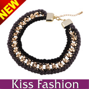 Black Rope with Gold Plated Chain Classic Design High Quality Have Stock Women Body Jewelry