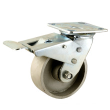 Heavy Duty Type Double Brake Type Double Ball Bearing Full Cast Iron Wheel Caster (KHX4-H12)