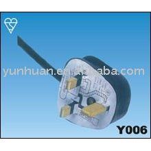 UK plug avec l'approbation de certificat SASO BS1363 fusible CE approuvé