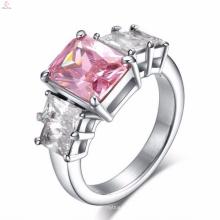 Diseño de anillos de dedo de piedra rosada grande del acero inoxidable para las mujeres con precio