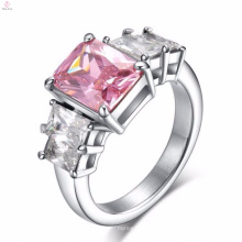Anéis de dedo de pedra cor-de-rosa grandes de aço inoxidável projetam para mulheres com preço