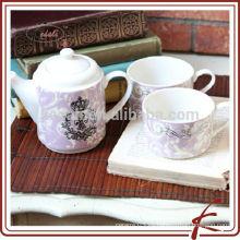 Venta al por mayor de porcelana de cerámica porcelana café tetera y taza