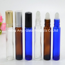 10ml Blue Glass Cobalt Roll en botella y botella azul con bola de metal inoxidable rodillo