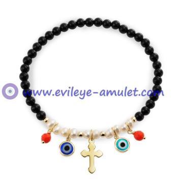 Evil Eye Pray Bracelet Evil Eye Cross Vermeil Stretch Bracelet