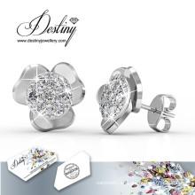 Destino joyas cristales de Swarovski Simple flor aretes